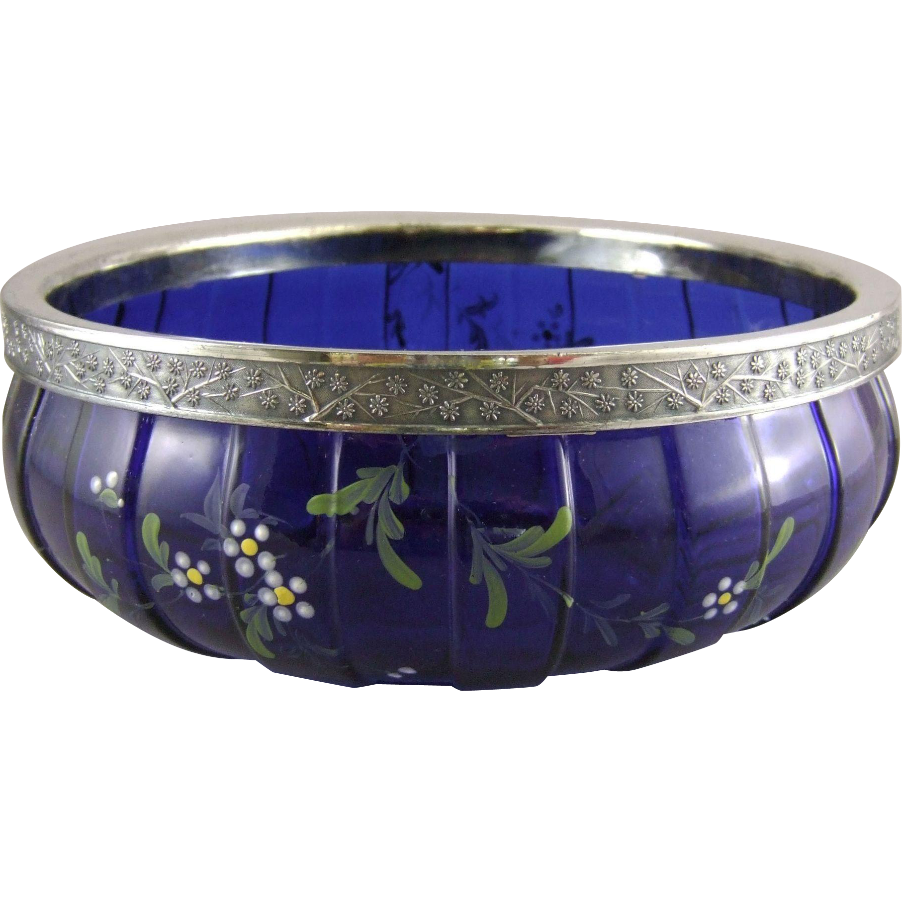 Consolidated Lamp & Glass Company Torquay Decorated Cobalt Blue Center Bowl