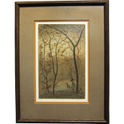 Cherokee Artist Paul Lancaster Colored Etching Quiet Sentinel