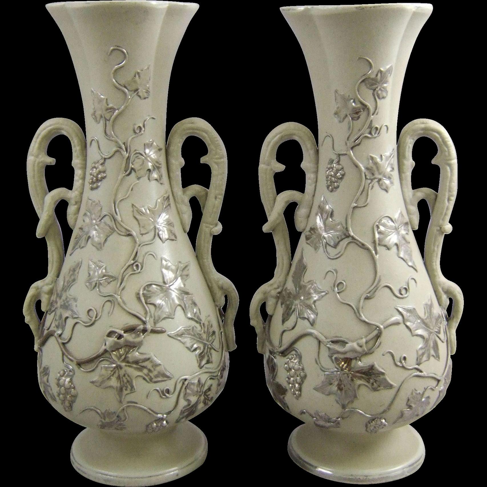 Antique villeroy boch mettlach ceramic pottery mantle vases with antique villeroy boch mettlach ceramic pottery mantle vases with green country estates tulsa antiques llc ruby lane reviewsmspy