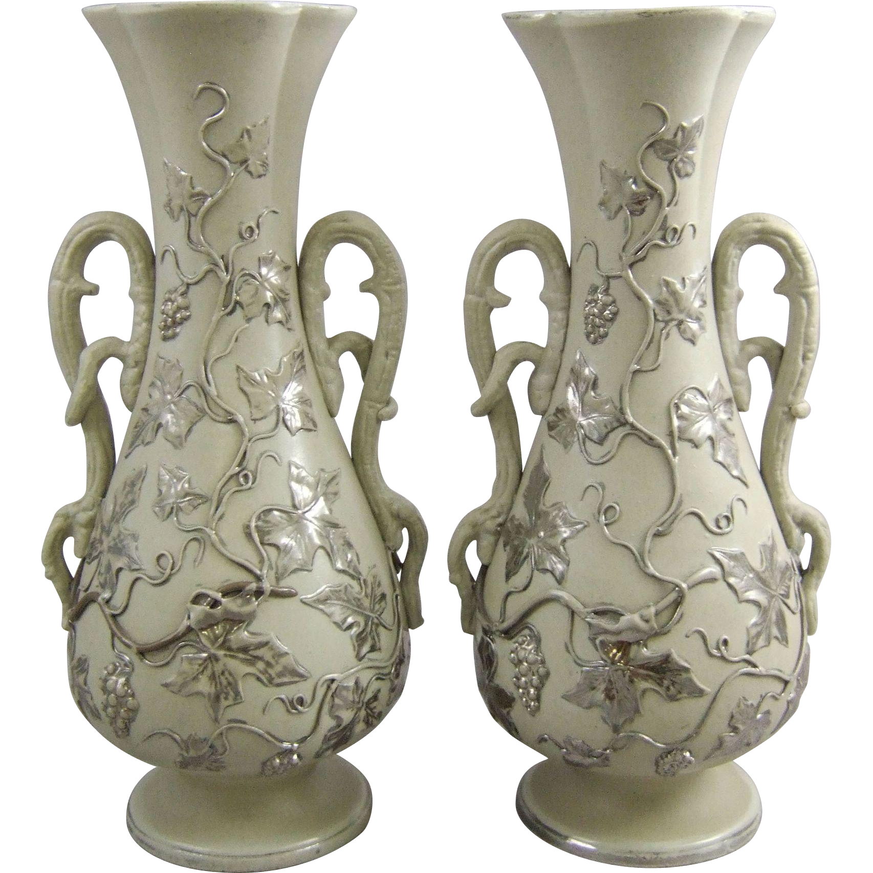 Antique Villeroy & Boch Mettlach Ceramic Pottery Mantle Vases with Platinum Grapevine Decor