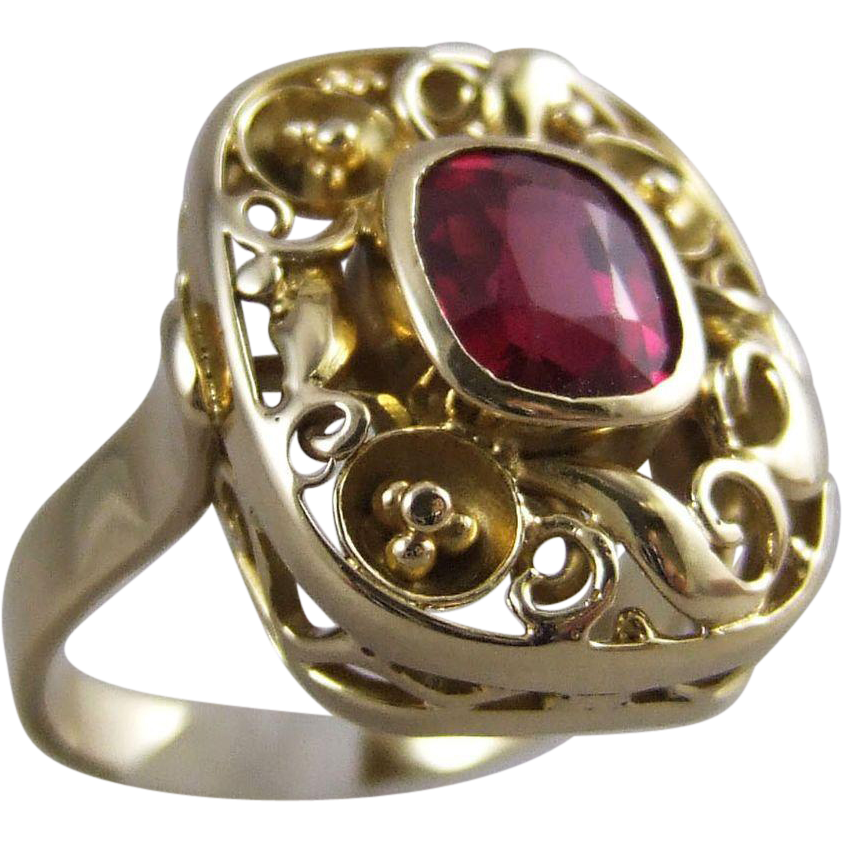 Continental 585 14K Heavy Gold Filigree Lab Ruby Ring