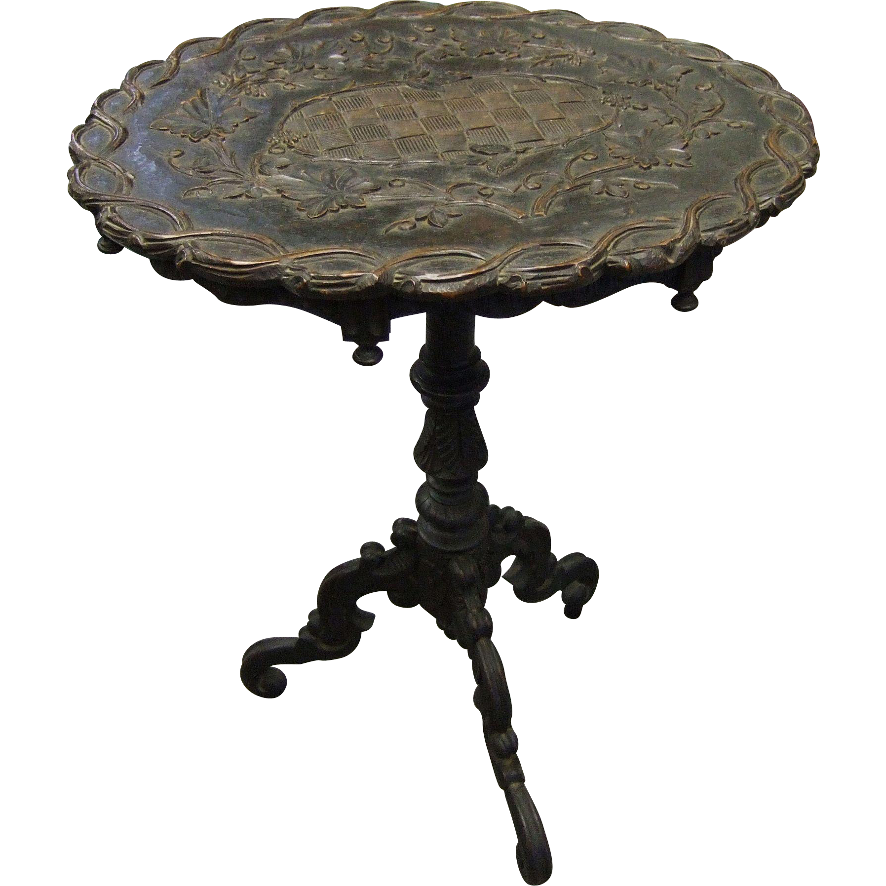 Antique Swiss Black Forest Carved Wood Pedestal Table