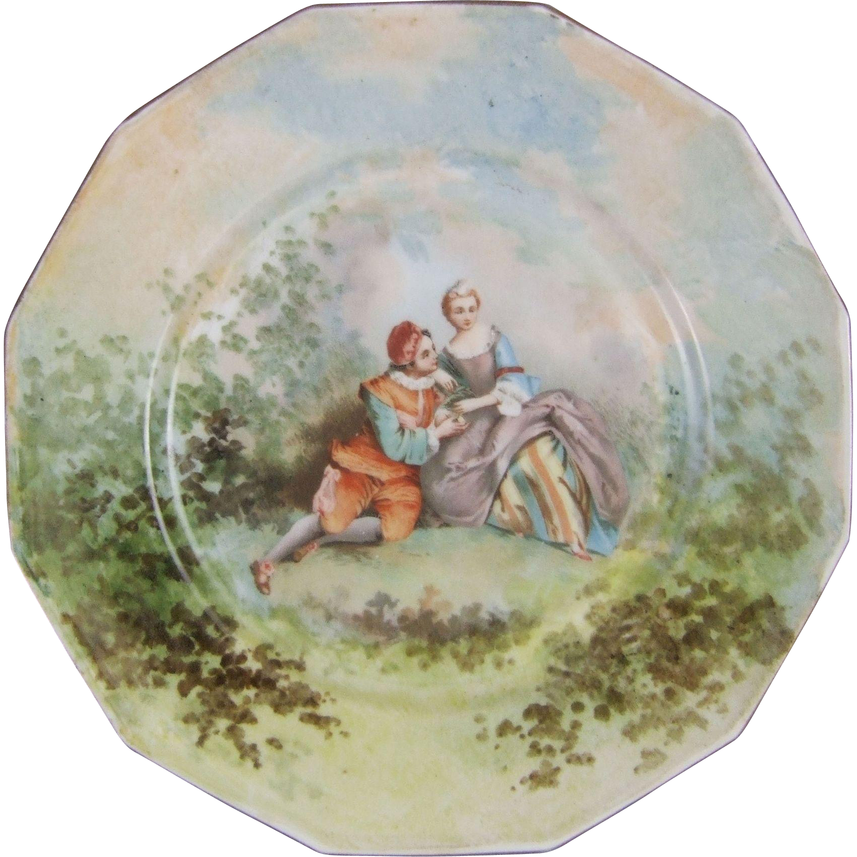 Limoges Porcelain Cabinet Plate Yvonne Laroudie