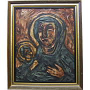 Mid Century Modern Impasto Abstract Oil on Canvas by Luzon - The Madonna and Child