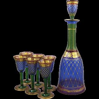 Palda Bohemian Glass Intaglio Cut and Gilt Enamel Decanter & Six Cordial Wines