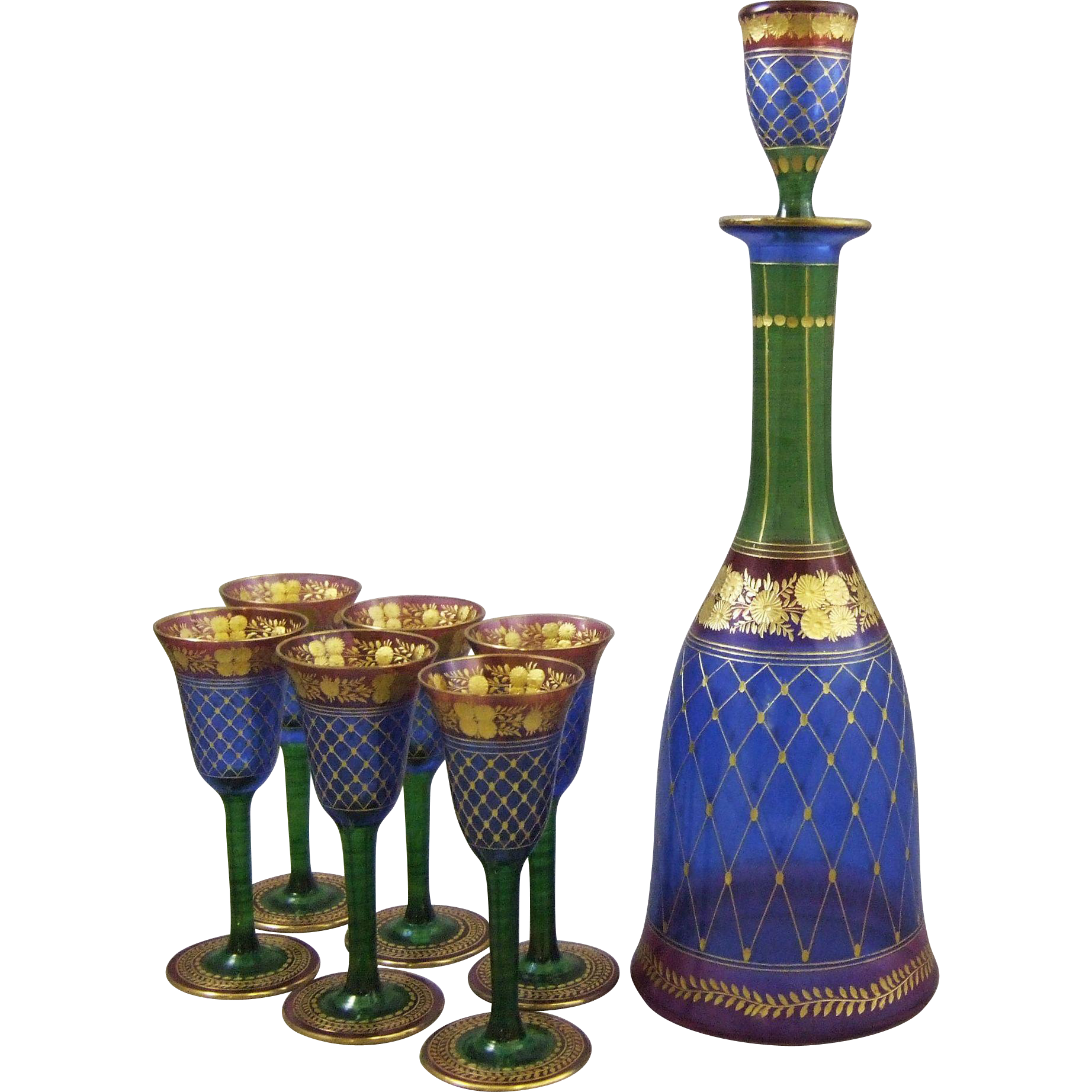 Palda Bohemian Glass Intaglio Cut and Gilt Enamel Decanter & Six Cordial Wines