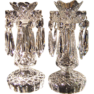 Waterford Irish Crystal C1 Candlestick Candleholders with Prisms