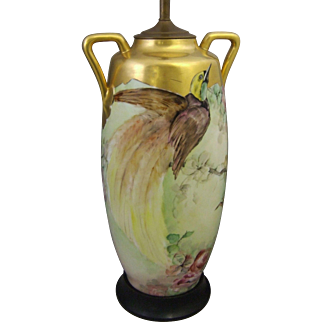 Hand Painted Porcelain Bird of Paradise Table Lamp