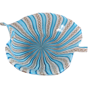 Venetian Murano Italy Latticino Ribbon Glass Leaf Form Bowl