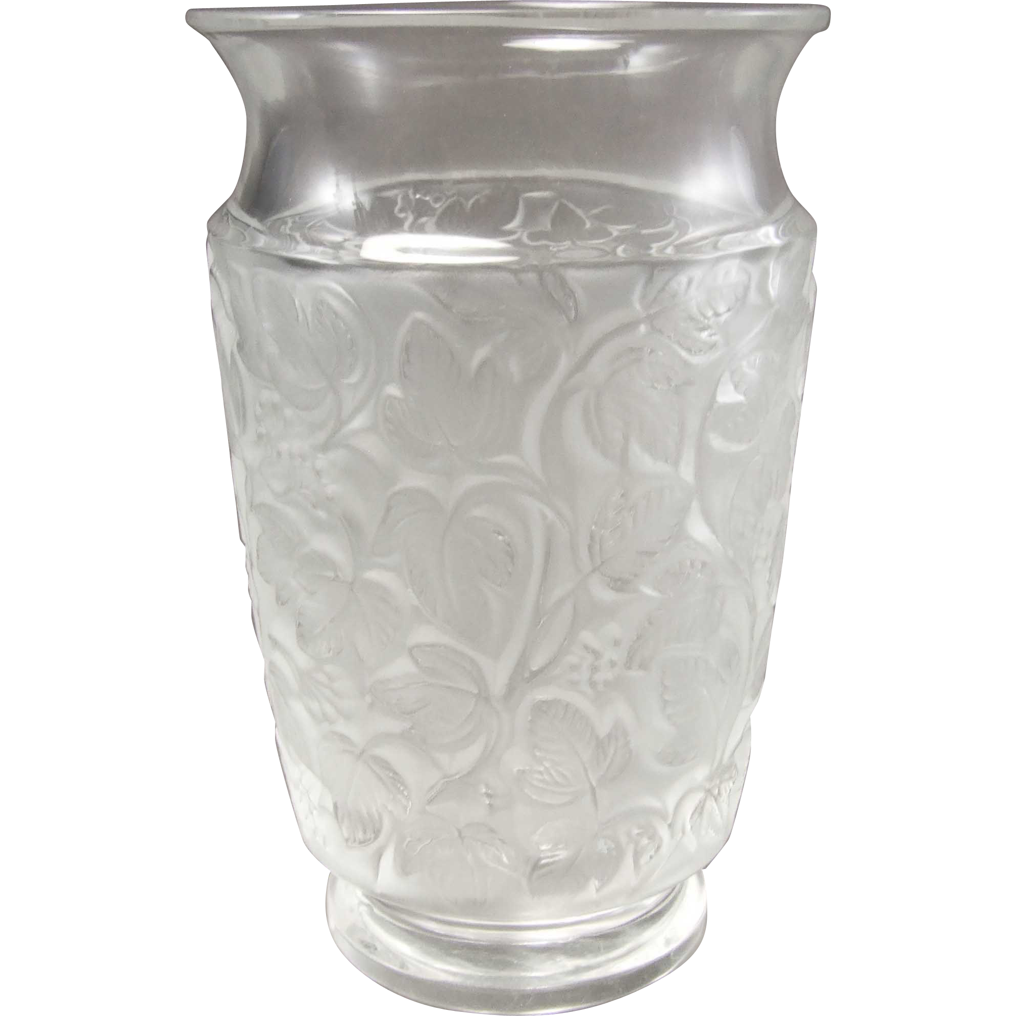Lalique deauville crystal vase from greencountry on ruby lane for Lalique vase