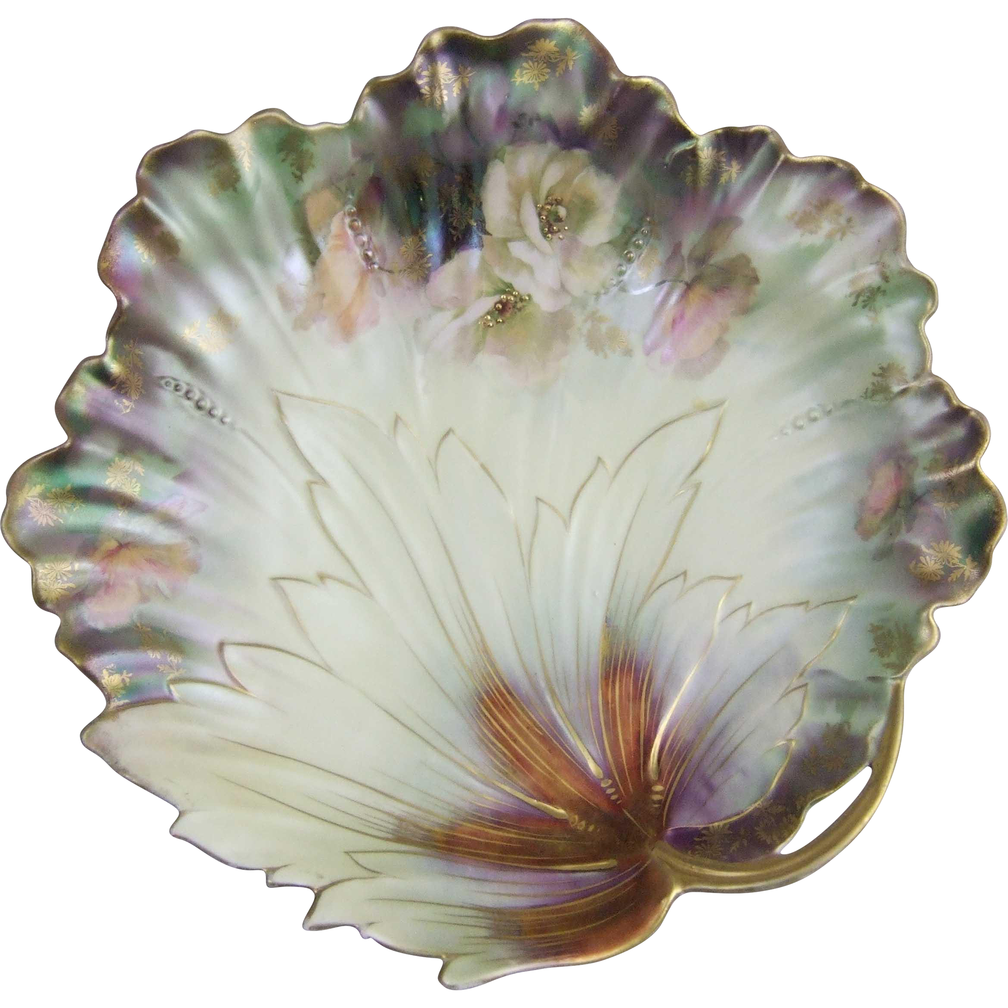 R.S.  Prussia Leaf Form Bowl with Satin Metallic Iridescent Finish