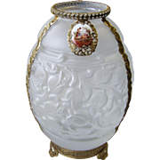 Art Deco Frosted Czech Glass Vase with Gilt Metal Filigree & Porcelain Plaque