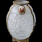Art Deco Frosted Czech Glass Vase with Gilt Metal Filigree & Porcelain Plaque