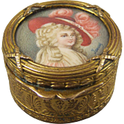 French Gilt Metal Trinket Box Duchess of Devonshire