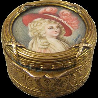 French Gilt Metal Trinket Box Duchess of Devonshire