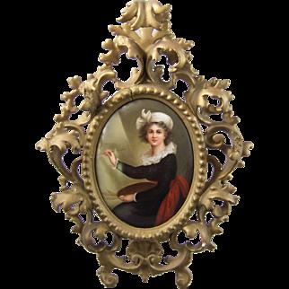 Antique Berlin Porcelain Plaque Self Portrait Louise Elisabeth Vigee LeBrun