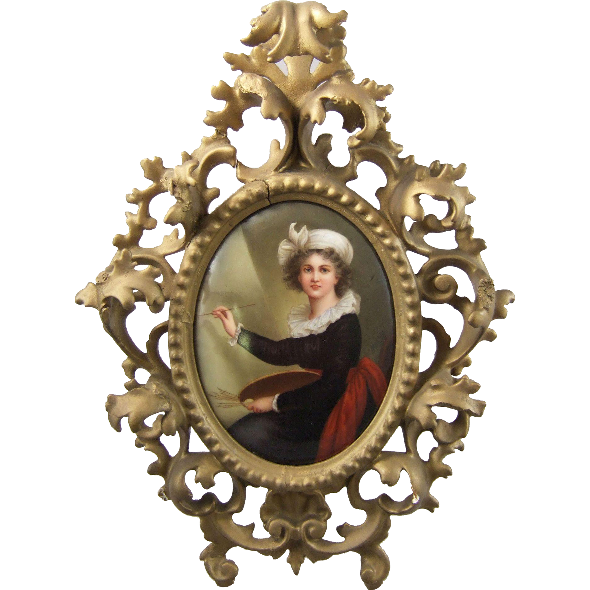 Antique Berlin Porcelain Plaque Self Portrait Louise Elisabeth Vigee LeBrun