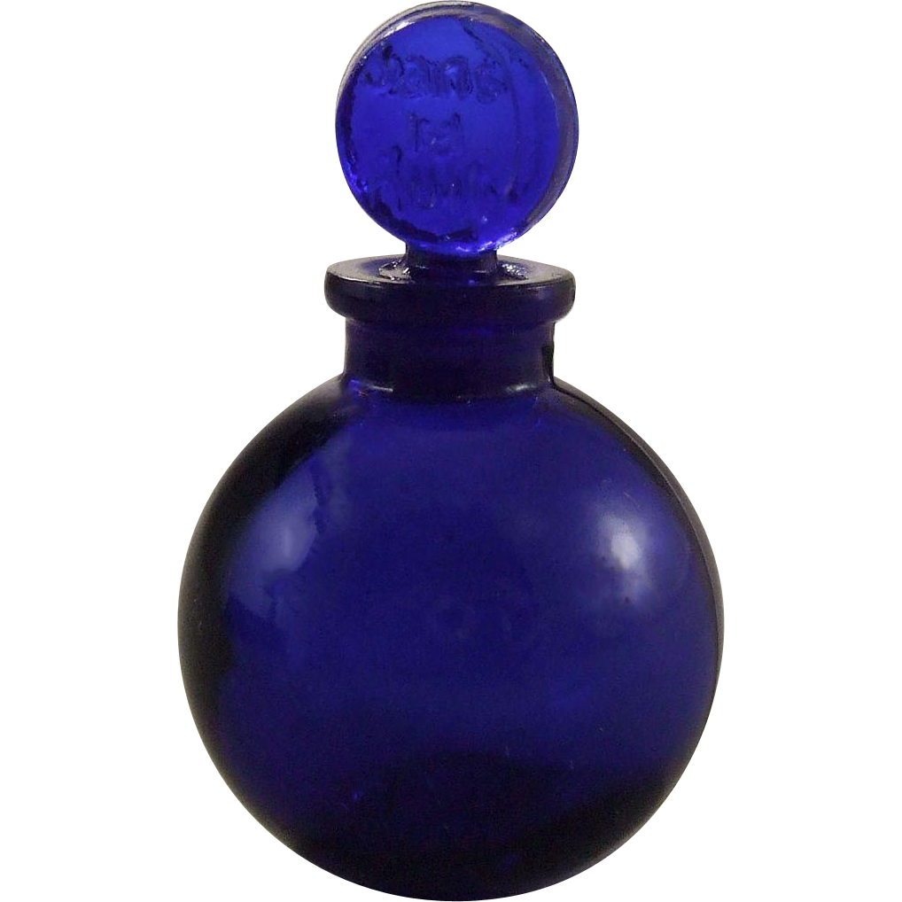 Lalique Jans la Nuit Miniature Cobalt Glass Perfume Bottle
