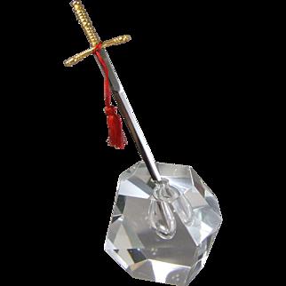 Excalibur Crystal Sculpture Paperweight & Letter Opener