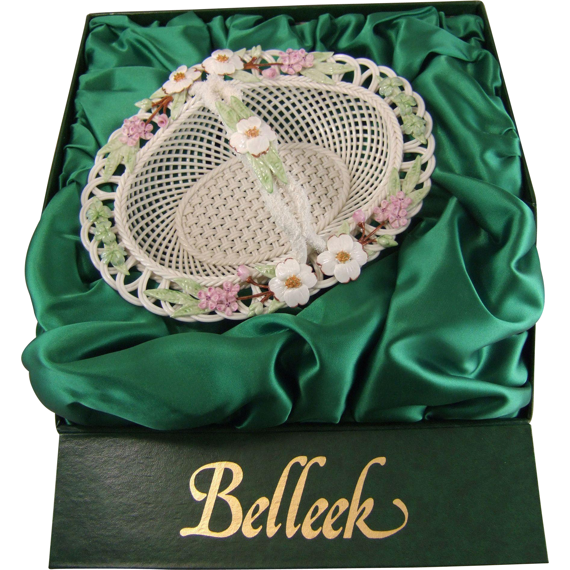Belleek Porcelain Richard Degenhardt 1995 Handled Basket