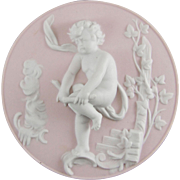 Bisque Porcelain Cherub Plaque Emblematic of Winter