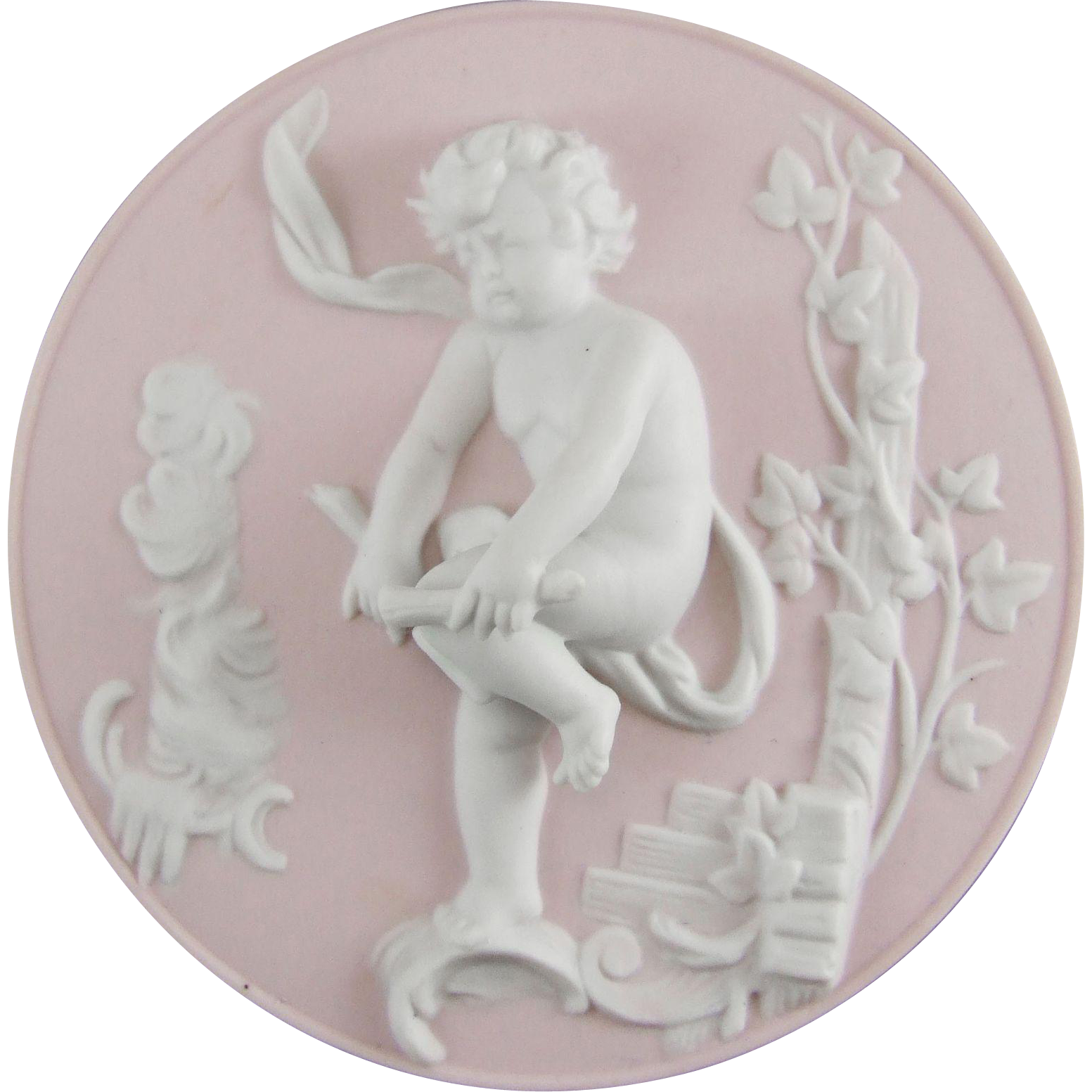Ilona G. - Bisque Porcelain Cherub Plaque Emblematic of Winter