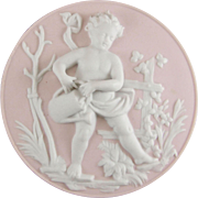Bisque Porcelain Cherub Plaque Emblematic of Spring