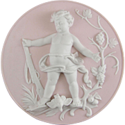 Bisque Porcelain Cherub Plaque Emblematic of Summer