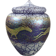 Phoenix Studios Carl Radke Art Glass Lidded Jar Running Horses