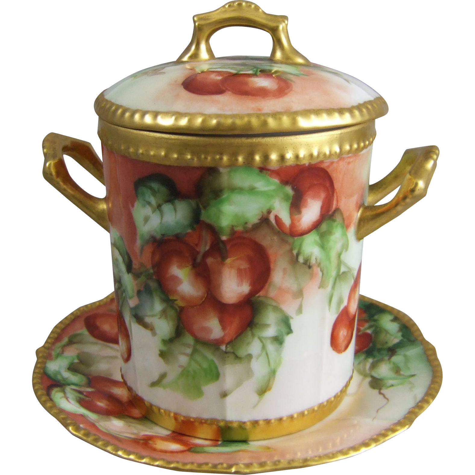 Limoges France Hand Painted Porcelain Condensed Milk Lidded Jar & Under Plate