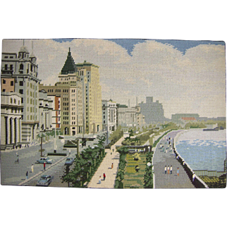 Vintage Needlepoint Picture of a Cityscape