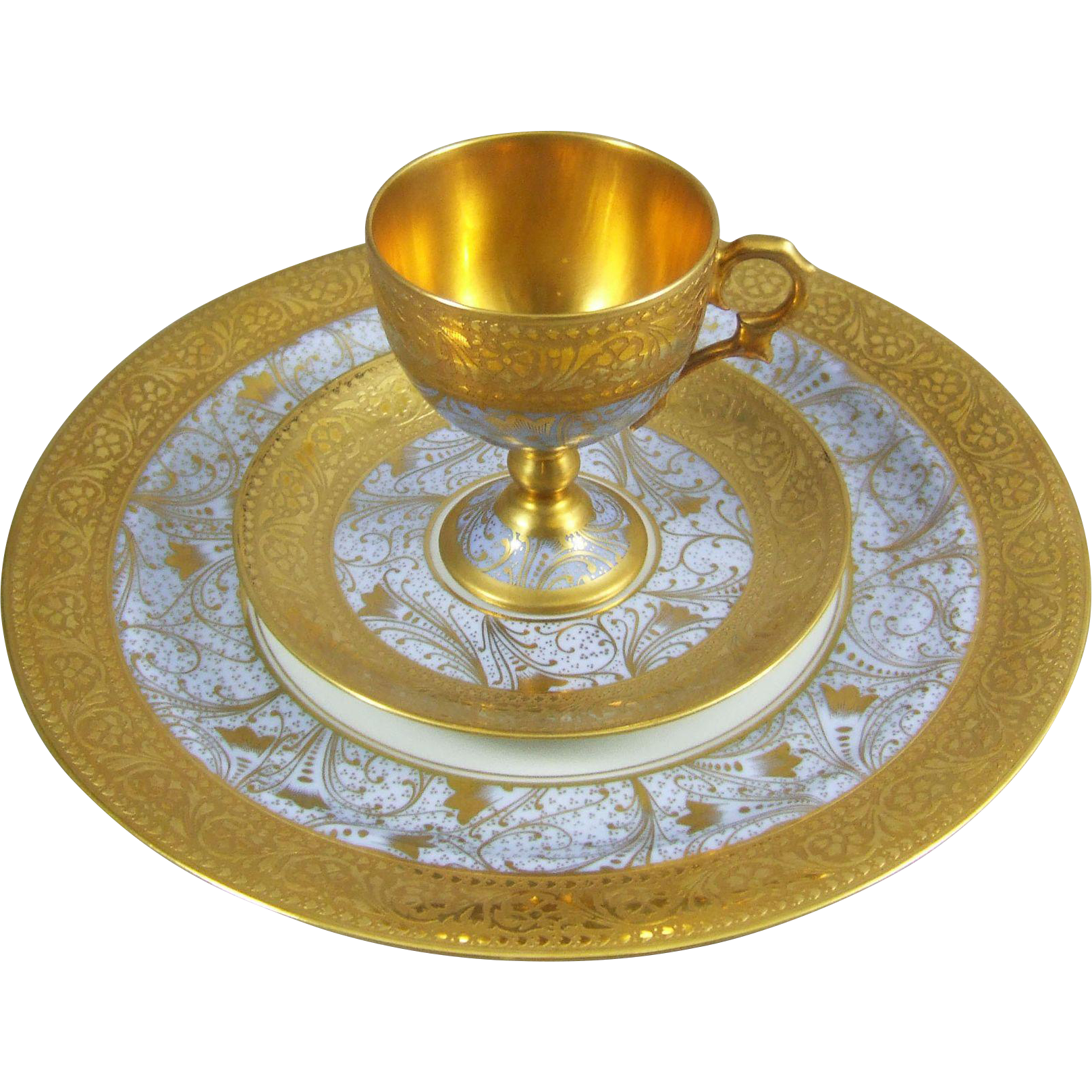 Limoges Unic Paris -  Gold Dore Inlay Porcelain Demitasse Cup Saucer & Plate