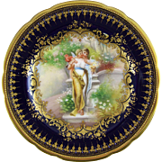 Ambrosius Lamm Dresden Germany Hand Painted Porcelain Cabinet Plate with Hans Zatzka Decoration