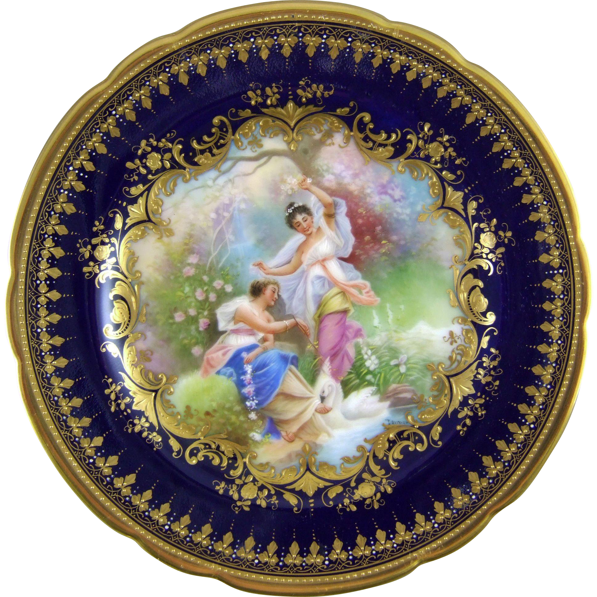 Ambrosius Lamm Dresden Germany Hand Painted Porcelain Cabinet Plate with Hans Zatzka Decoration - Krieg (War)