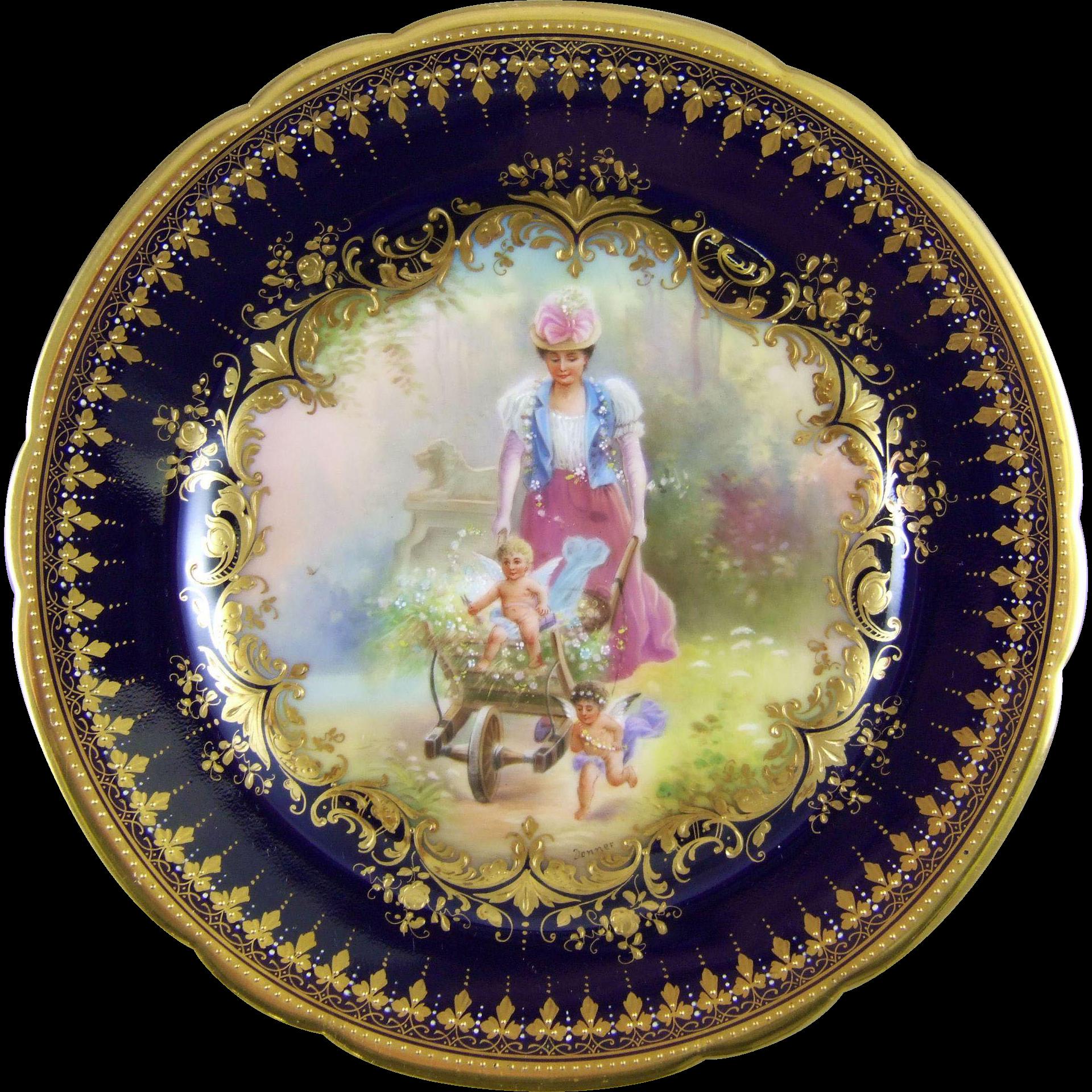 Ambrosius Lamm Dresden Germany Hand Painted Porcelain Cabinet Plate with Hans Zatzka Decoration - Leibe im Galopp