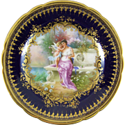 Ambrosius Lamm Dresden Germany Hand Painted Porcelain Cabinet Plate with Hans Zatzka Decoration - Du Bist Mein !
