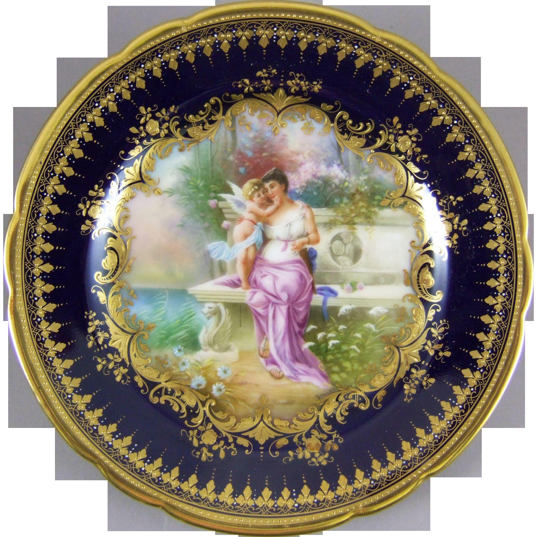 Ambrosius Lamm Dresden Germany Hand Painted Porcelain Cabinet Plate with Hans Zatzka Decoration - Du Bist Mein !