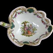 Dresden Meissen Porcelain Polychrome Leaf Form Dish