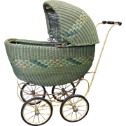 Heywood Wakefield Wicker Rattan Doll Carriage