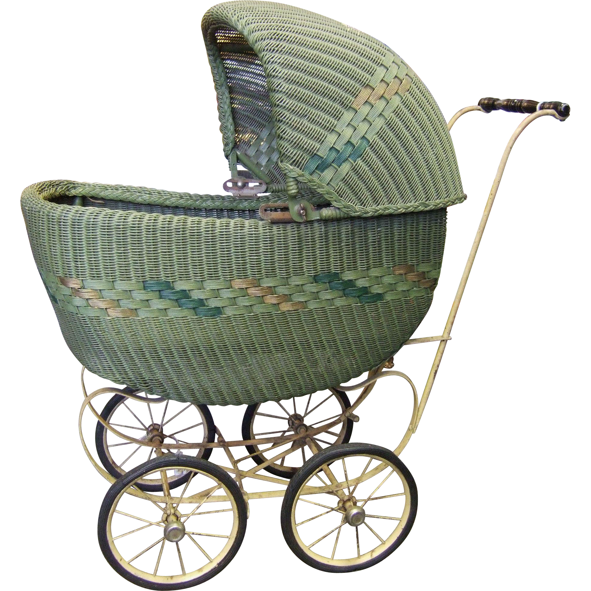 Heywood Wakefield Wicker Rattan Doll Carriage