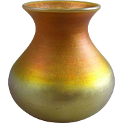 Quezal Gold Iridescent American Art Glass Vase