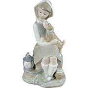 Lladro Porcelain Figurine 4910 Girl with Dog and Lantern