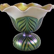 Lundberg Studios Pulled Feather Flower Form Art Glass Vase