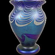 Vandermark C1978 Decorated Blue Iridescent Art Glass Vase