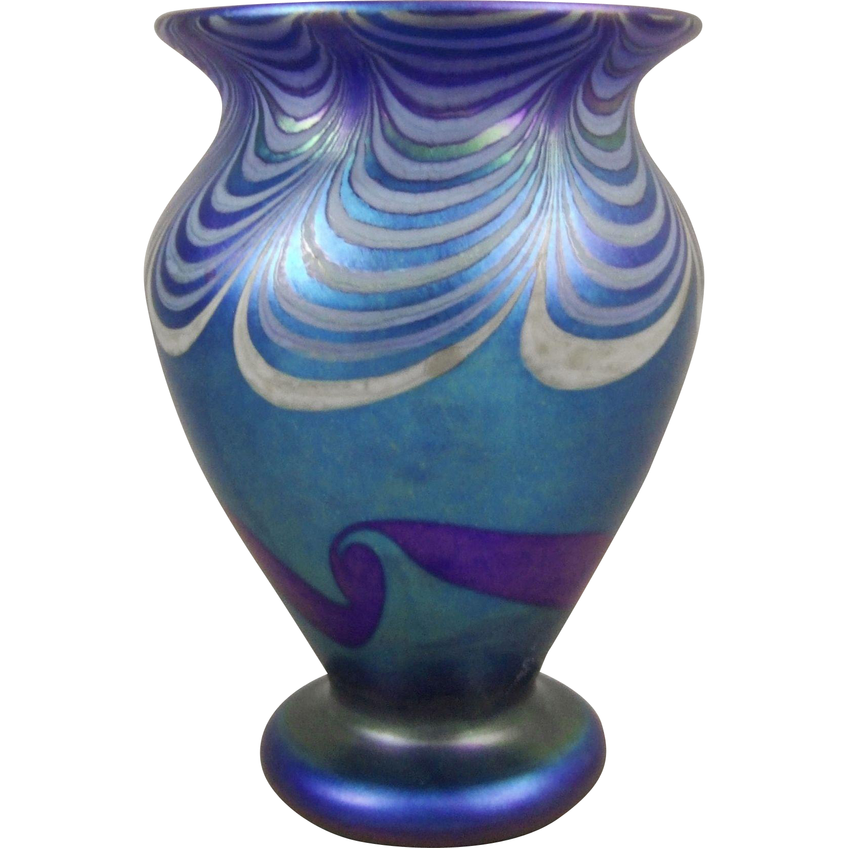 Vandermark C1978 Decorated Blue Iridescent Art Glass Vase