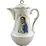 Antique German Porcelain Chocolate Pot with Napoleon Portrait