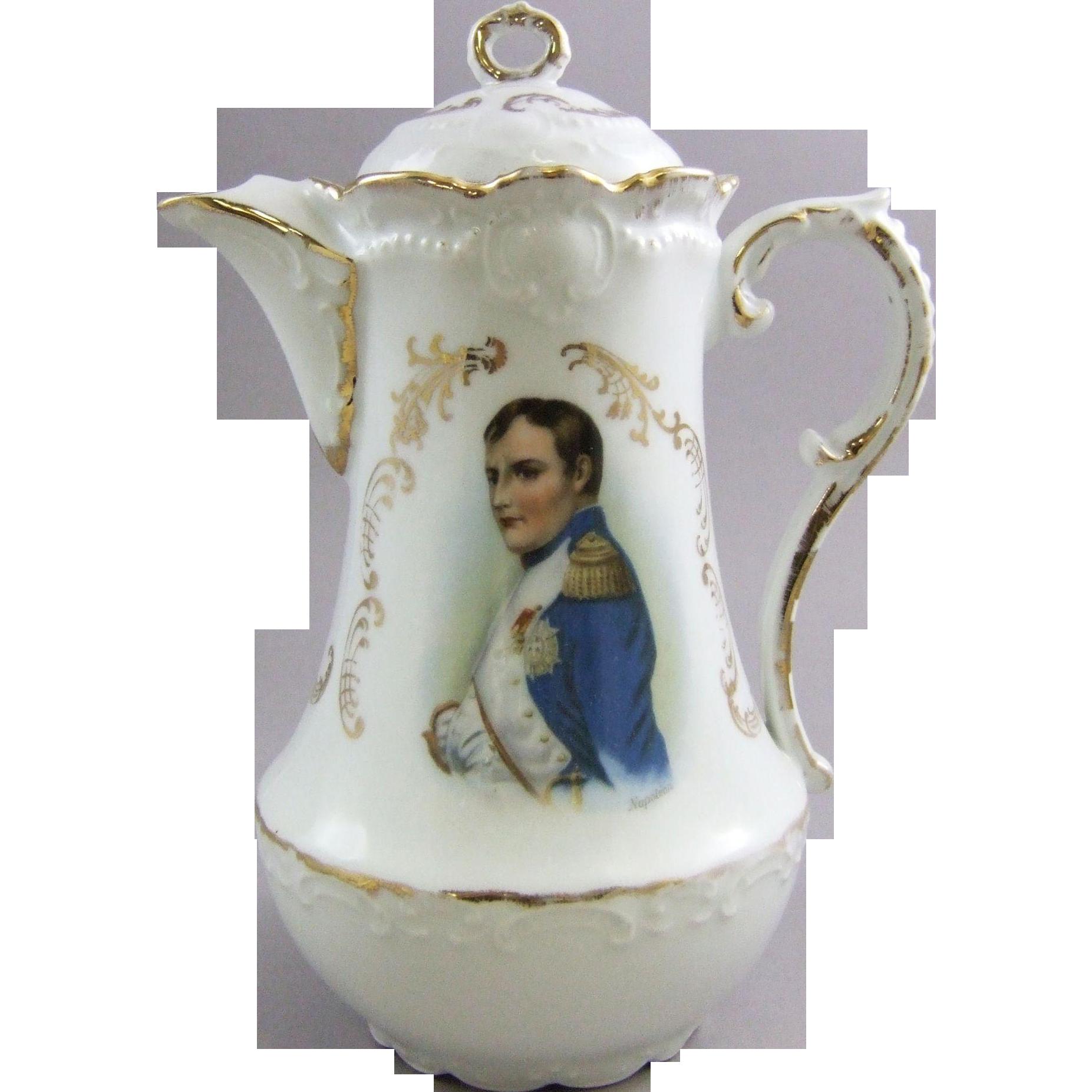 Antique German Porcelain Chocolate Pot with Napoleon Portrait