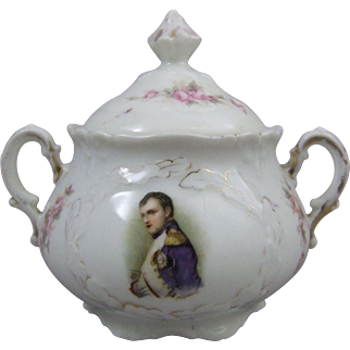 Antique Victorian German Porcelain Sugar Bowl and Cover with Portrait of Napoleon