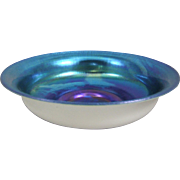 Steuben 5061 Blue Aurene on Calcite Center Bowl