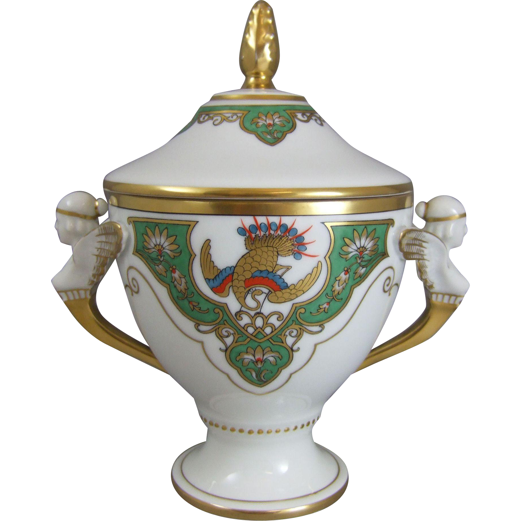 Furstenberg Porcelain Compote with Peacock & Caryatid